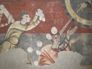 Steinigung des Stephanus. Hochmittelalterliche Wandmalerei, Romanische Abteilung des MNAC, Barcelona. - Foto: JoBo, 04-2013.