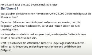 Nach den Hexen nun die Ruhe: Köln wehrt sich gegen Kirchenlärm.