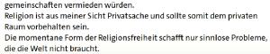 """Religionsfreiheit ist ein """"Problem""""? - Aus einer Diskussion auf Tagesschau.de."""