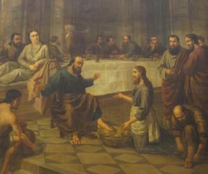 Jesus wäscht Petrus im Abendmahlssaal die Füße. Gemälde in der Sakramentskapelle der Kathedrale von Barcelona. Foto: JoBo, 04-2014.