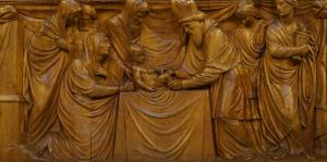 Darstellung der Beschneidung des Herrn am Altar der Sakramentskapelle in der Kathedrale von Barcelona. Foto: JoBo, 4-2014.